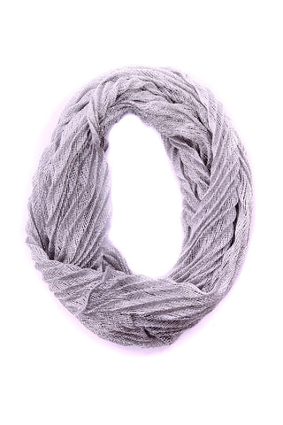 Shannon Pleated Infinity Scarf Grey