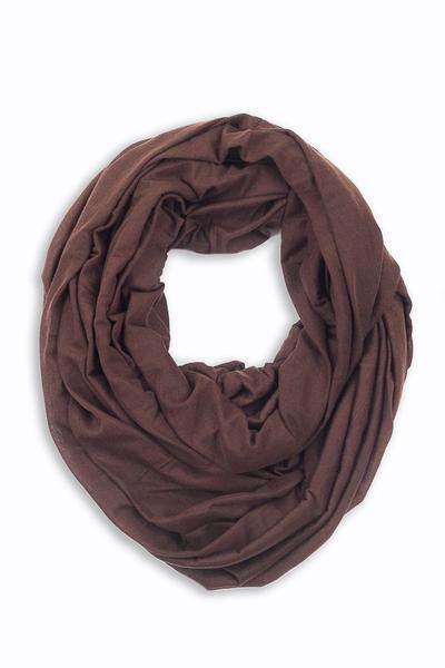 Shirley Soft Jersey Infinity Scarf Brown