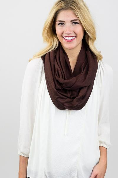 Shirley Soft Jersey Infinity Scarf Brown With Model