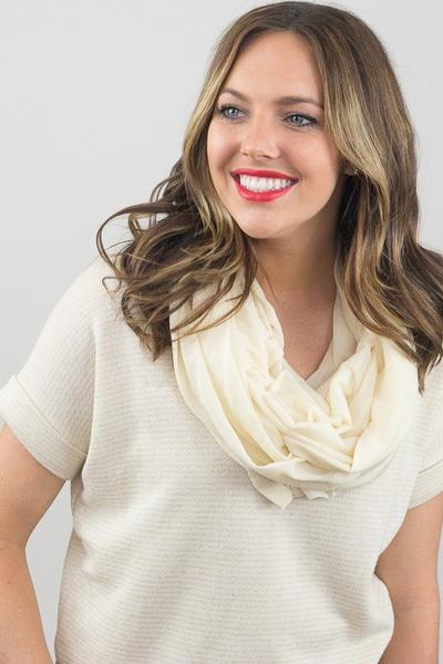 Shirley Soft Jersey Infinity Scarf Ivory With Model