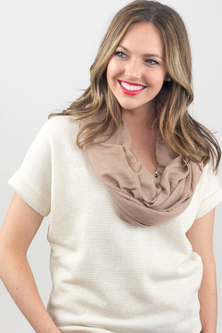 Shirley Soft Jersey Infinity Scarf Camel With Model