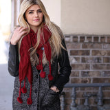 Skylar Pom Pom Neck Scarf Burgundy With Model