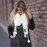 Skylar Pom Pom Neck Scarf White With Model
