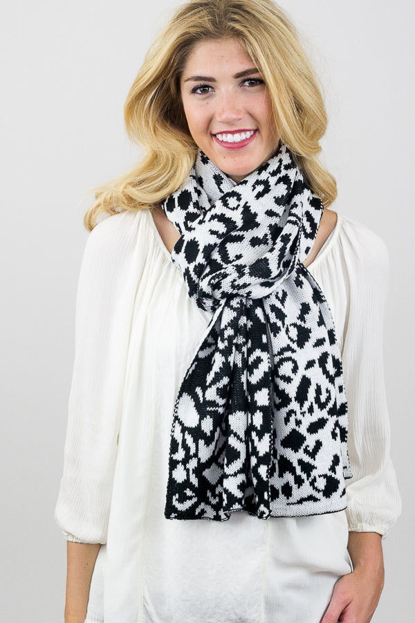Susie Knit Leopard Scarf With Model