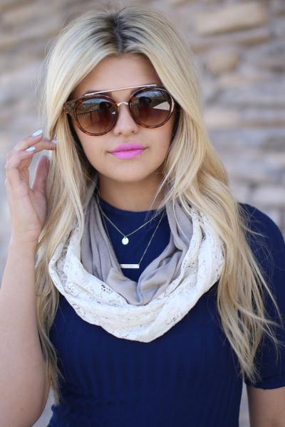 Terri Lace Infinity Scarf Beige With Model