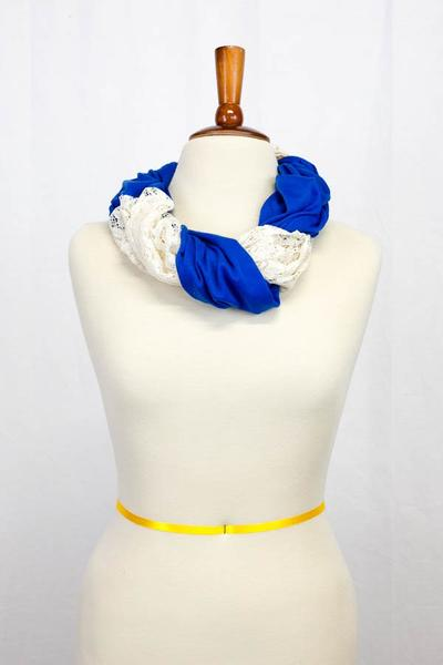 Terri Lace Infinity Scarf Blue