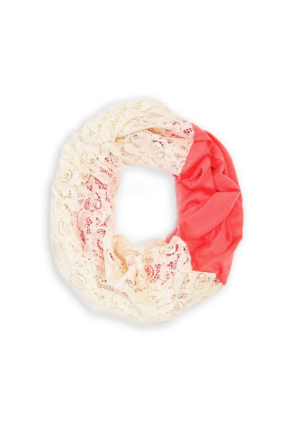 Terri Lace Infinity Scarf Pink