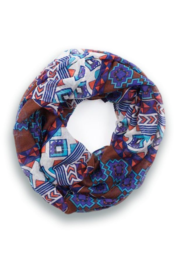 Thea Tribal Infinity Scarf Brown