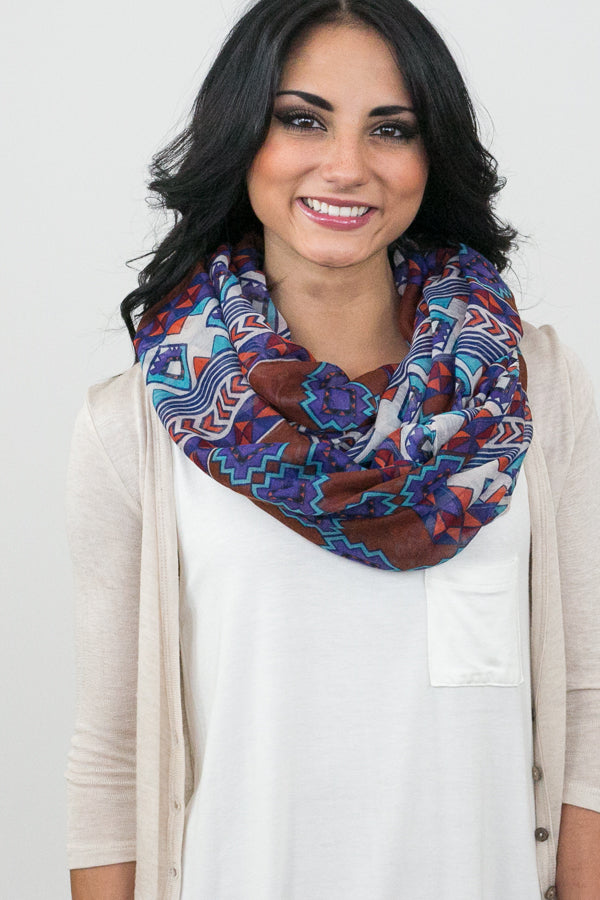 Thea Tribal Infinity Scarf Brown With Model