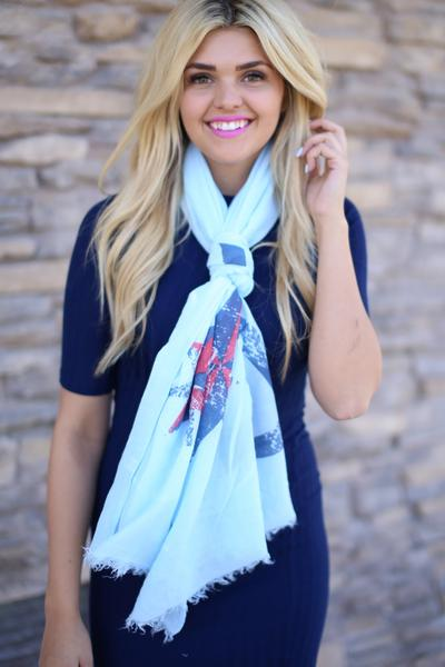 Theodora Anchor Print Scarf Blue With Model