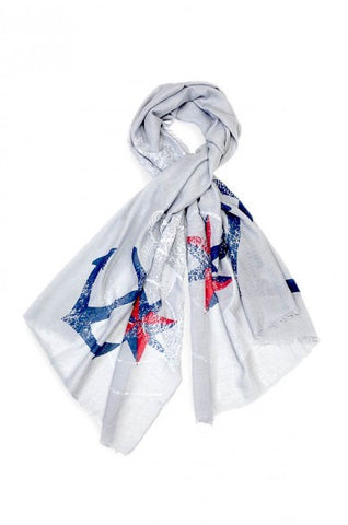 Theodora Anchor Print Scarf Grey