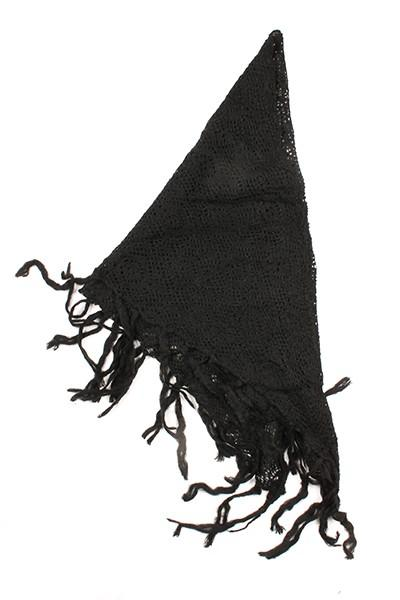 Tiana Knit Triangle Fringe Scarf Black