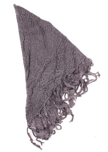 Tiana Knit Triangle Fringe Scarf Grey