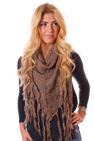 Tiana Knit Triangle Fringe Scarf Taupe With Model