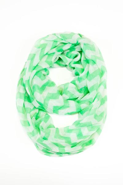 Tori Chevron Scarf Green