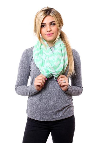 Tori Chevron Scarf Green With Model