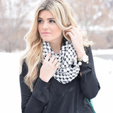 Trudy Popcorn Knit Infinity Scarf White With Girl