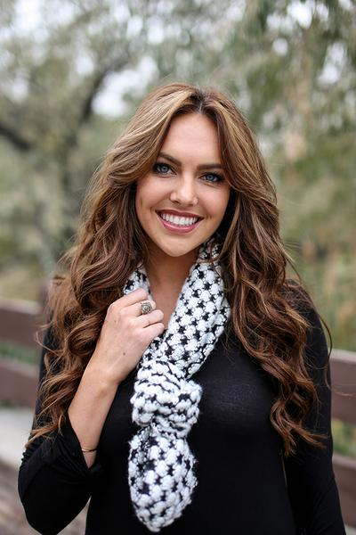 Trudy Popcorn Knit Infinity Scarf White With Model
