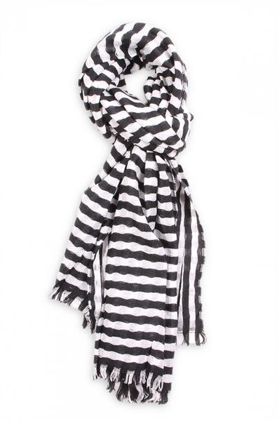 Striped Donna Scarf Black