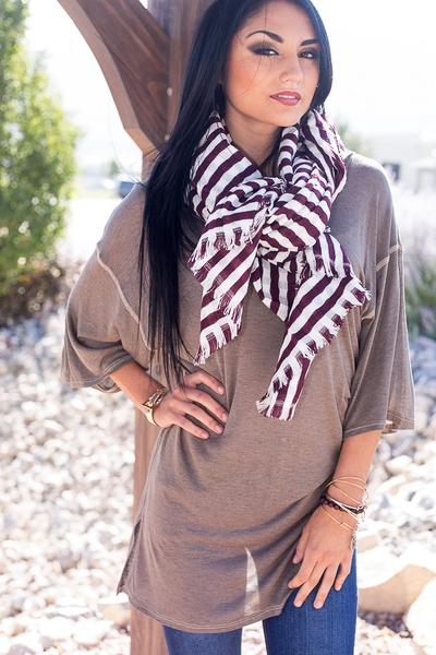 Striped Donna Scarf Burgundy With Model