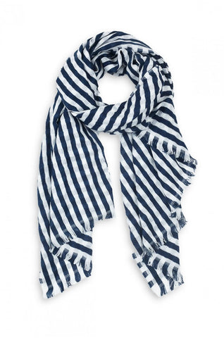 Striped Donna Scarf Navy