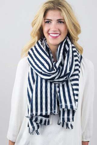 Striped Donna Scarf Navy on Model