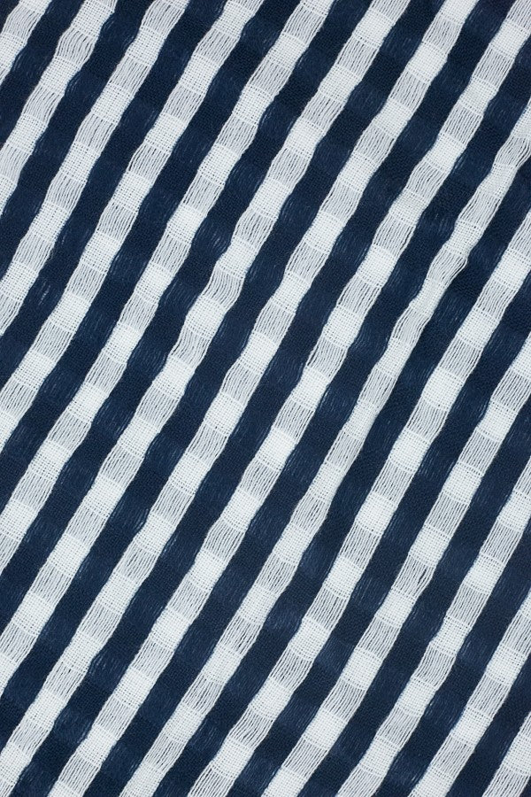 Donna Striped Blanket Scarf  Navy Up-Close