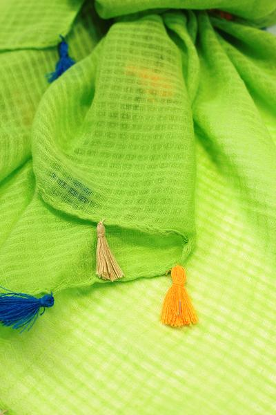 Dawn Solid Color Tassel Scarf Lime Green