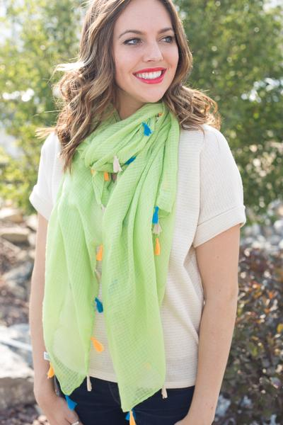 Dawn Solid Color Tassel Scarf Lime Green With Model