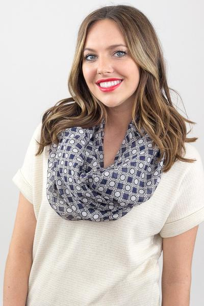 Octavia Geo Print Infinity Scarf Grey With Model