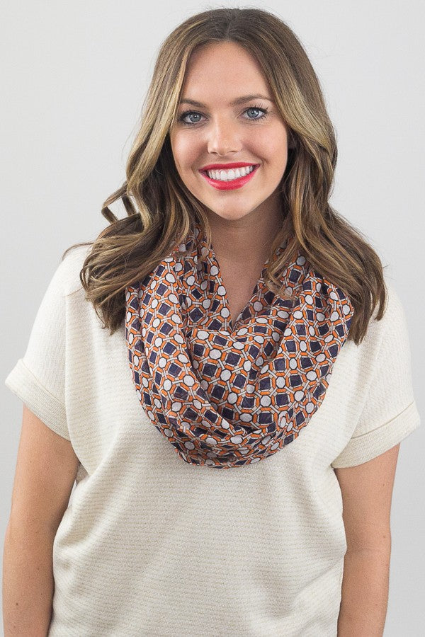 Octavia Geo Print Infinity Scarf Orange With Model