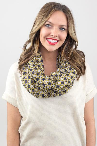 Octavia Geo Print Infinity Scarf Yellow With Model