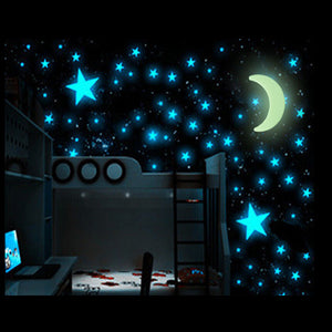 100Pcs Glow In The Dark Stars- Moon- Sticker  Luminous Wall Stickers