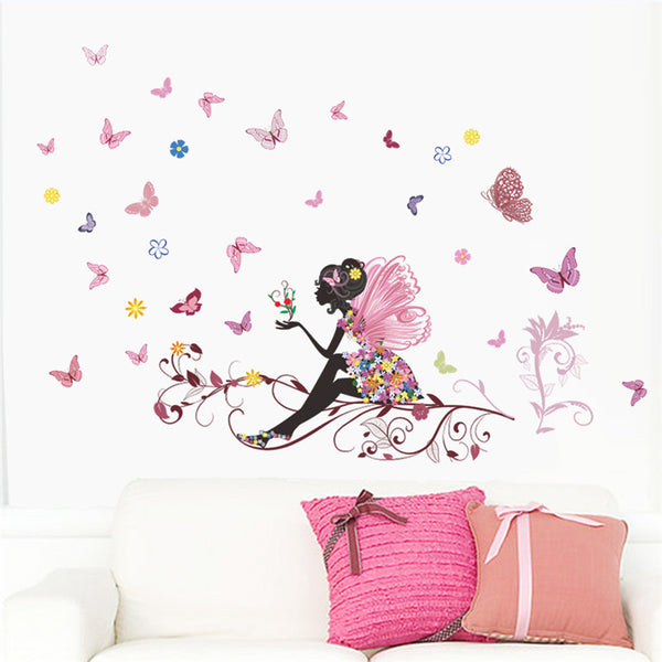 Beautiful Girl Butterfly Flower Wall Sticker art.