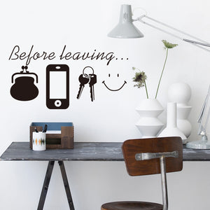 Reminder Quotes wall stickers money, phone keys