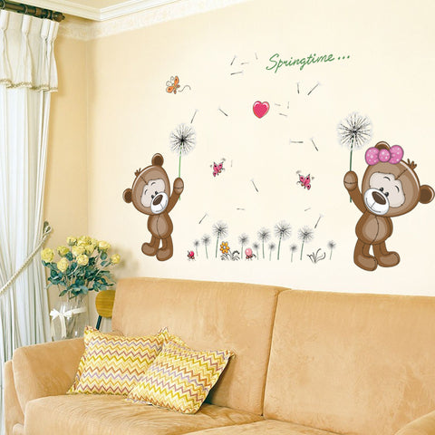 Brown Bears Wall Sticker for Kids Room or Nursery