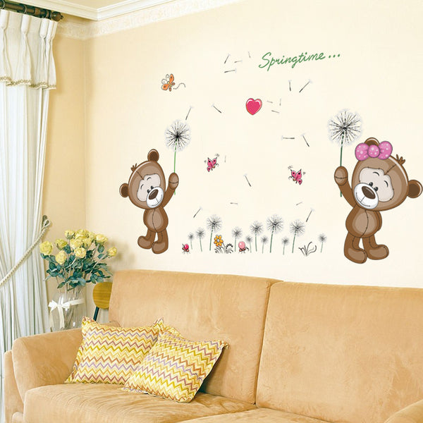 Brown Bears Wall Sticker for Kids Room Nursery