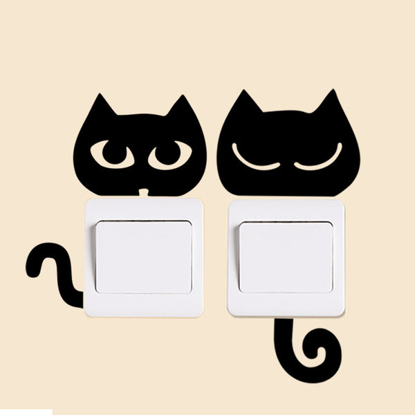 Funny Cute Black Cat, Dog, Rat, Mouse wall decals