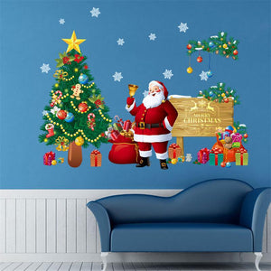 Santa Claus Christmas Wall Stickers with Tree and presents.
