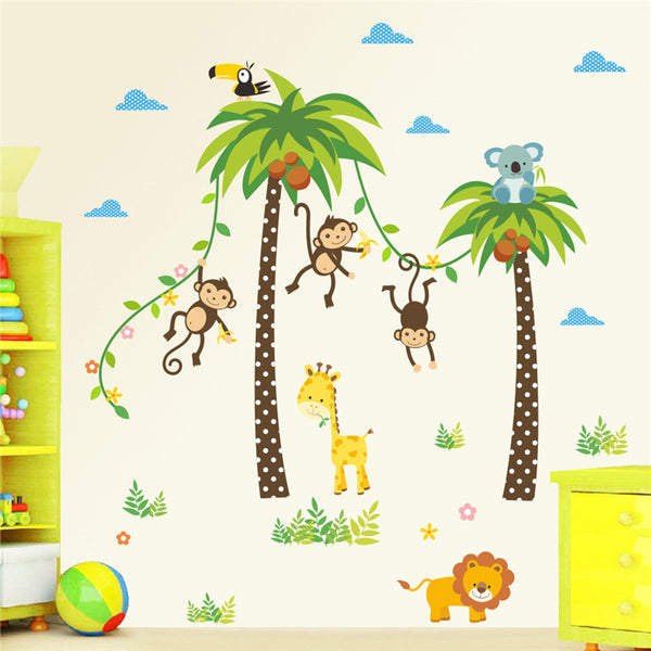 Animals Giraffe Lion Monkey Palm Tree wall stickers for kids room or nursery