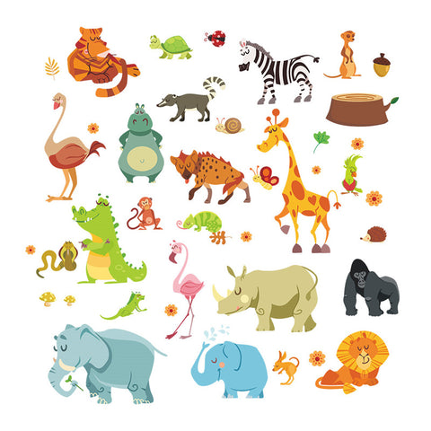 Jungle Animals Wall Stickers for Kids Rooms Nursery Rooms Poster Monkey Elephant Horse