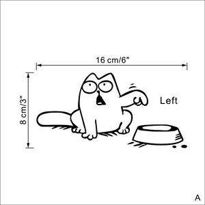 Cat demanding food wall sticker for kitchen (Left or Right available)