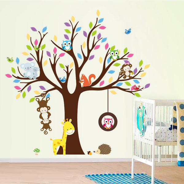 Monkey,Owl ,Giraffe, birds on Tree wall stickers for kids room