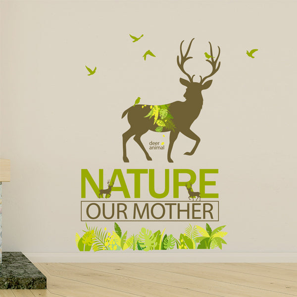 'Nature Our Mother' Forest Deer Decal