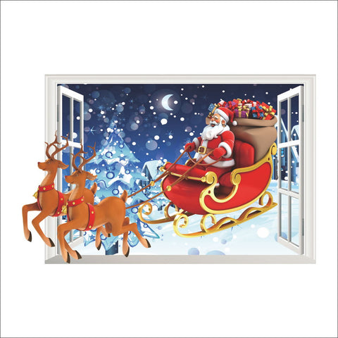 Santa Claus Reindeer Christmas Wall Sticker.