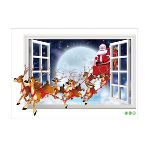 Santa Claus Reindeer Christmas Wall Decal