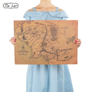 Vintage Middle Earth Map On The Lord of The Rings Wall Sticker 51x35.5cm Retro Kraft Paper