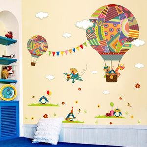 Colourful hot air balloon for kids or baby nursery wall decal