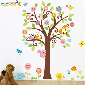 Wise owls tree wall stickers for kids room or nursery decals