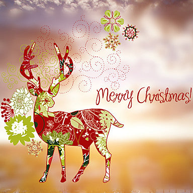 Christmas Deer Window Sticker - (60 x 58)cm